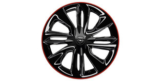 Alloy Wheel 7 x 17, Swiss Blade - High Gloss Black & Diamond Cut Red 'n' Roll